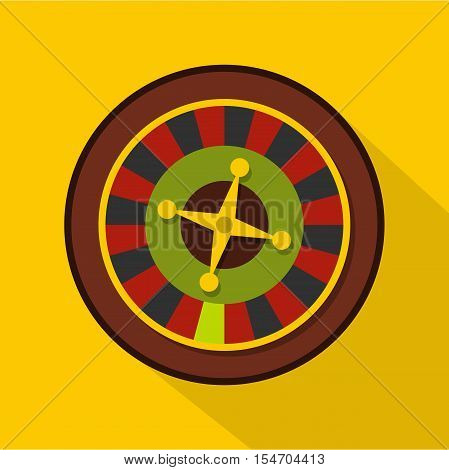 Casino gambling roulette icon. Flat illustration of casino gambling roulette vector icon for web isolated on yellow background