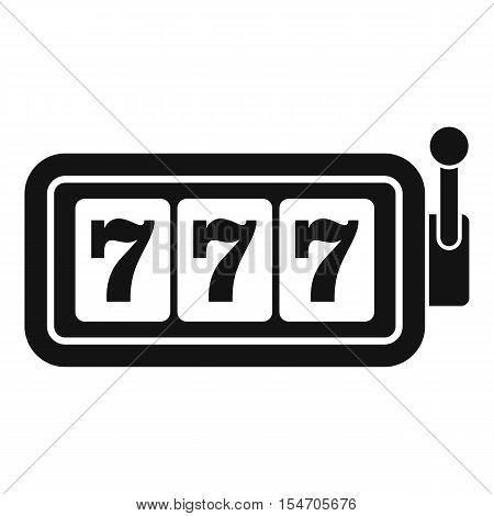 Lucky seven on slot machine icon. Simple illustration of lucky seven on slot machine vector icon for web