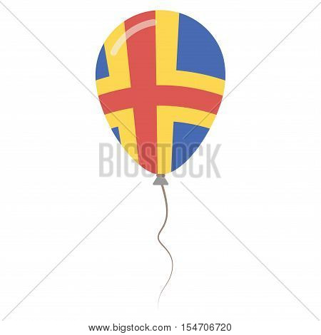 Aland Islands National Colors Isolated Balloon On White Background. Independence Day Patriotic Poste