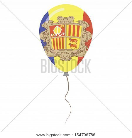 Principality Of Andorra National Colors Isolated Balloon On White Background. Independence Day Patri