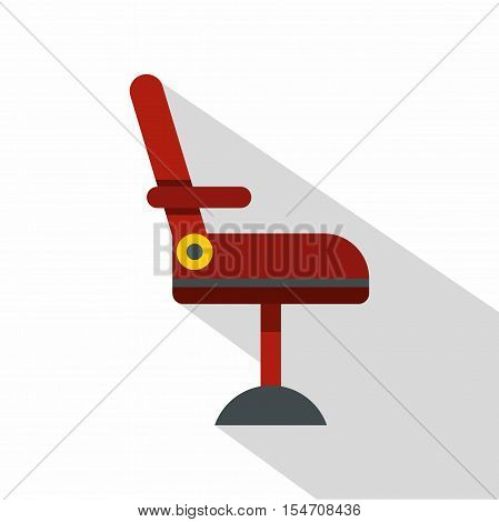 Red barber chair icon flat illustration of red barber chair vector