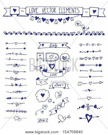 Big set of doodle sketch hand drawn heart elements. Vector set of design love elements on the white background. Doodle divider, arrow, border icons set with sketch hand drawn hearts elements.