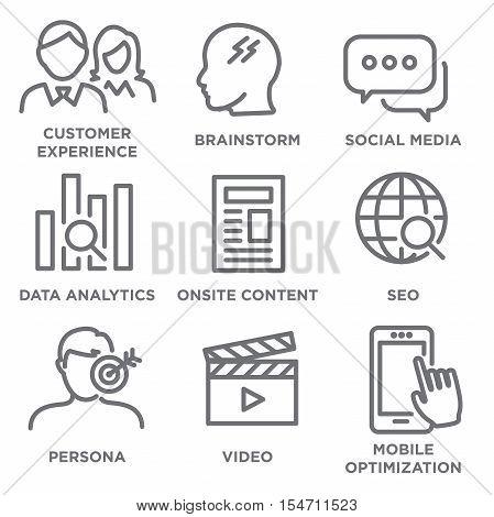 Marketing Strategy Icon Set