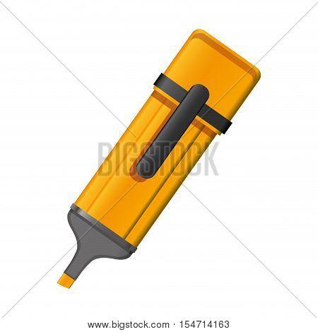 orange highlighter pen with lid vector illustration