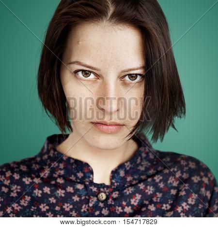 Woman Face Upset Unhappy Expression Concept