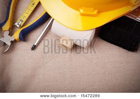 a mix of construction tools with copy space
