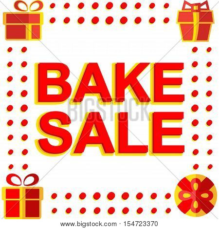 Big winter sale poster with BAKE SALE text. Advertising  banner template