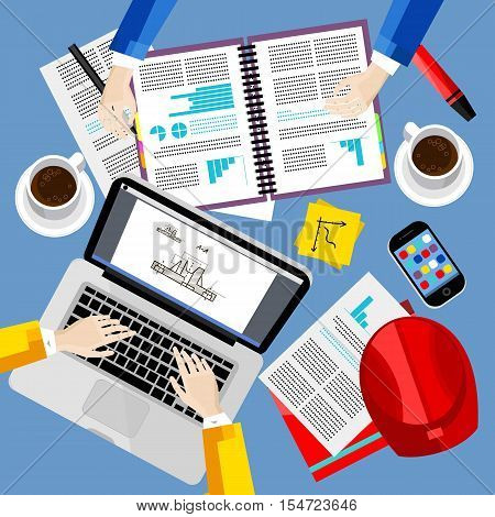 Business office and workspace background, vector illustration. Business workplace with human hands, laptop, paperwork, safety helmet, coffee cup and other objects, top view. Business people concept