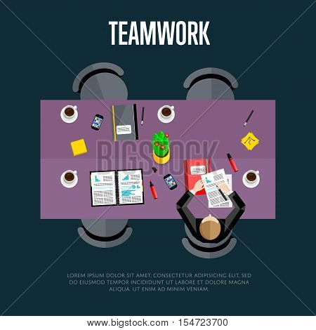 Teamwork concept. Top view workspace background, vector illustration. Business workplace with businessman, paperwork, laptop, cup of coffee and other objects on table. Office workplace background