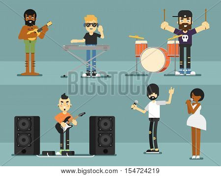 Rock band music group with musicians concept of artistic people vector illustration. Singer, guitarist, drummer, solo guitarist, bassist, keyboardist characters performs on stage. Rock star.