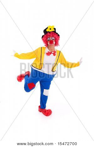 Funny clown standing over a white background