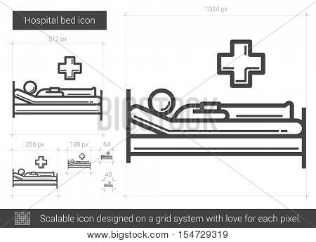 Hospital bed vector line icon isolated on white background. Hospital bed line icon for infographic, website or app. Scalable icon designed on a grid system.