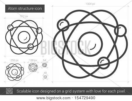 Atom structure vector line icon isolated on white background. Atom structure line icon for infographic, website or app. Scalable icon designed on a grid system.