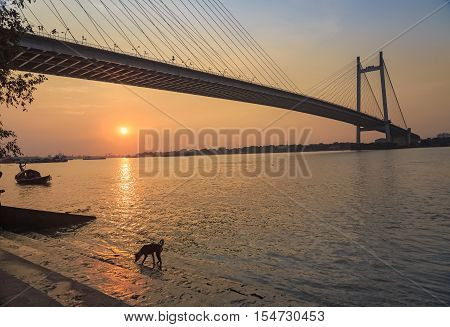 Scenic sunset over the Vidyasagar bridge on river Hooghly. Photograph taken from Princep Ghat, Kolkata. The Hooghly river bridge is the longest cable stayed bridge in India.