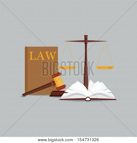 Law and justice set icon Scales of justice gavel and books in flat style Conceptual justice and law Vector illustration.