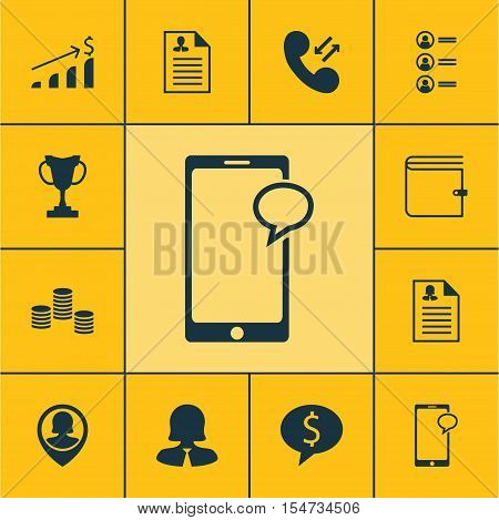 Set Of Human Resources Icons On Successful Investment, Cellular Data And Curriculum Vitae Topics. Ed