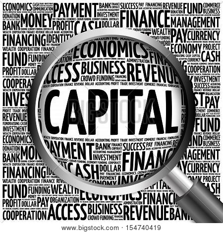 Capital Word Cloud With Magnifying Glass