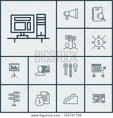 Set Of Project Management Icons On Discussion, Announcement And Presentation Topics. Editable Vector