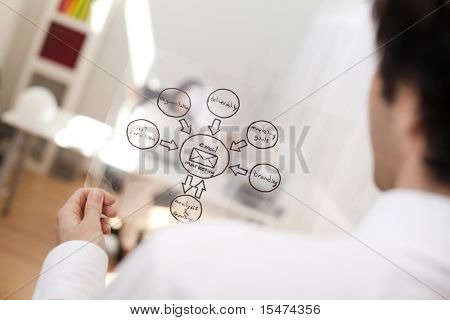 Businessman looking at a EMail Marketing schema (selective focus with shallow DOF).
