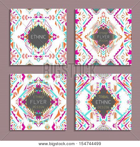 Vector set of geometric colorful backgrounds. Card templates for business and invitation. Ethnic tribal aztec style. Modern ethno ikat pattern
