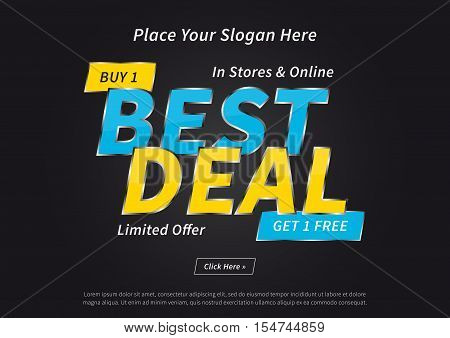 Banner Best Deal Buy 1 Get 1 Free vector illustration on black background. Poster Best Deal Limited Offer creative concept with sample text for websites retail stores advertising.