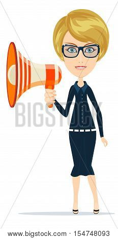 Megaphone man funny cartoon casual woman for use in advertising, presentations, brochures, blogs, documents and forms, etc. Stock vector illustration