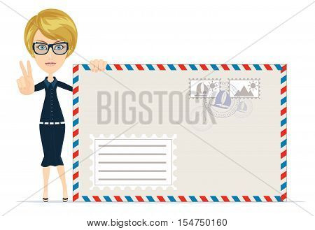 Young business woman witha envelope letter. Stock vector illustration