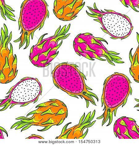 gradon fruit pattern. Pitaya, pitahaya fruit, vector seamless pattern