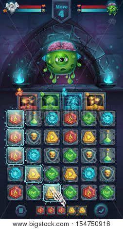 Monster battle GUI freak with brain playing field match 3 - cartoon stylized vector illustration mobile format window with options buttons game items.