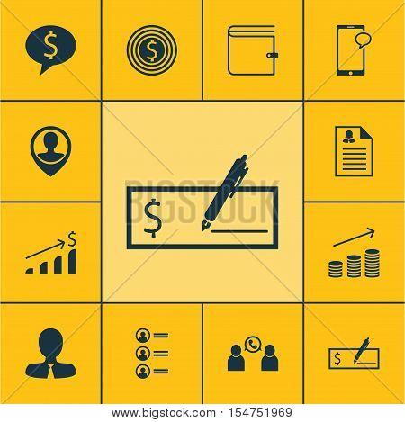 Set Of Management Icons On Bank Payment, Manager And Job Applicants Topics. Editable Vector Illustra