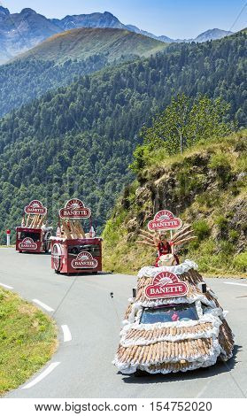 Col D'AspinFrance- July 15 2015: Banette Caravan during the passing of the Publicity Caravan on the Col d'Aspin in Pyerenees Mountains in the stage 11 of Le Tour de France 2015. Banette is the leading brand for the artisan bread in France.