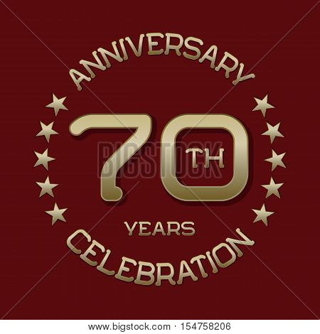 70th anniversary celebration logo symbol. Golden circular editable emblem on red.