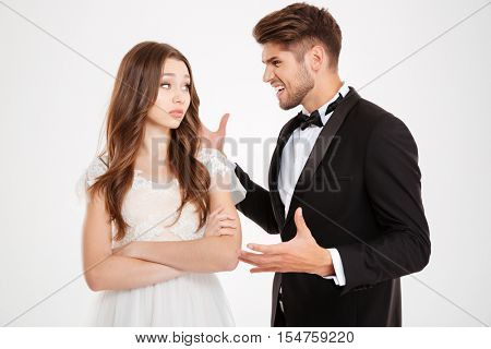 Images of man argues with a girl. isolated white background
