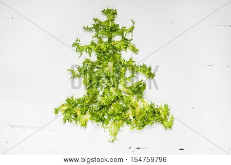Christmas Food background. Christmas tree made from fresh frise on white background. Healthy holiday food vegan vegetarian and diet concept.