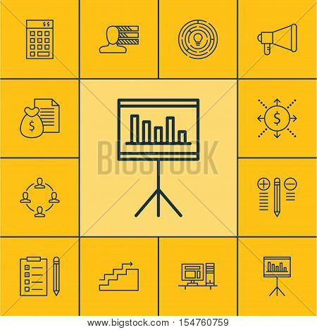 Set Of Project Management Icons On Announcement, Innovation And Reminder Topics. Editable Vector Ill