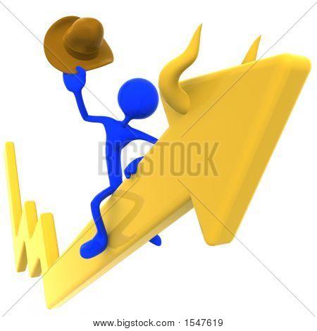 Bull Riding Rodeo Stock Market Arrow