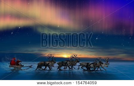 Santa Claus has brought gifts for you in his reindeers harness, isolated on the white background.