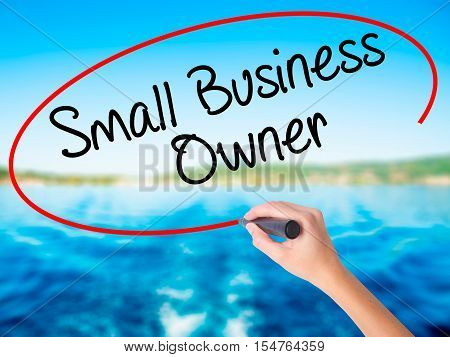 Woman Hand Writing Small Business Owner With A Marker Over Transparent Board