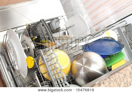 dishwasher with dirty dishes (selective focus with shallow DOF)