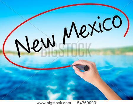 Woman Hand Writing New Mexico With A Marker Over Transparent Board