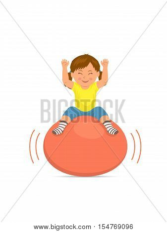 Baby jumping on bouncing ball. Child playing with a ball on a white background. Gymnastics for children and healthy lifestyle. Vector illustration in flat style.