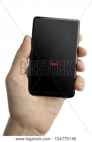 Hand holding smart phone with low battery icon on the screen isolated white