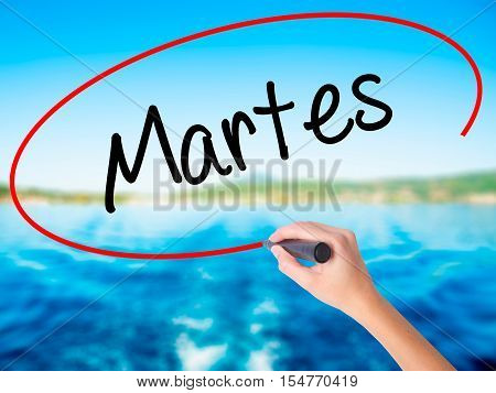Woman Hand Writing Martes (tuesday In Spanish) With A Marker Over Transparent Board