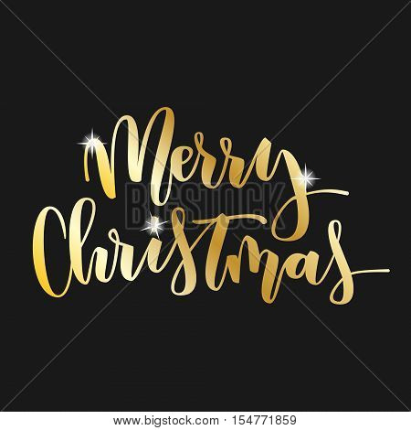 Merry Christmas gold hand written inscription with sparks on black background