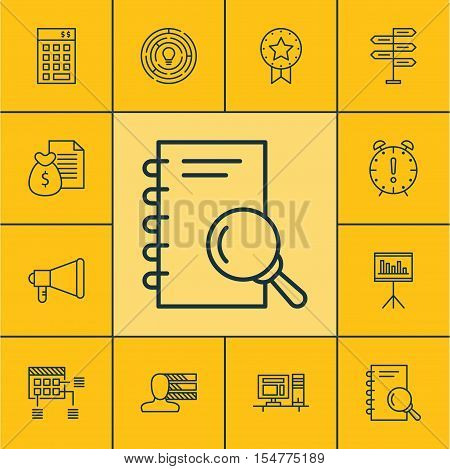 Set Of Project Management Icons On Report, Present Badge And Computer Topics. Editable Vector Illust