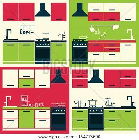 Modern Kitchen Interior. Vector Kitchen Cabinets. Vector Illustration of Modern Kitchen Cabinets and Household Equipment in Line Style. Banner or Flyer with Kitchen Cabinets.