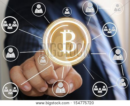 Businessman,choosing bitcoins presses the touch screen .The latest technologies operate the Finance in a network.The concept of distribution of bitcoins. Global business concept bitcoin.