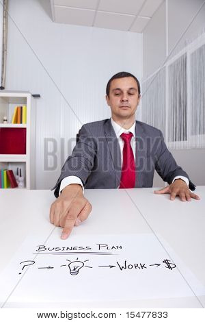Businessman with a strategy plan to be successful in his business (selective focus)