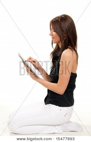 Woman Typing On Her New Electronic Tablet Touch