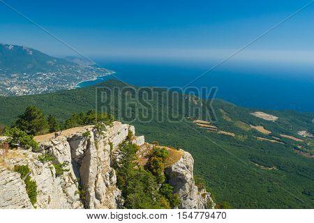 View on Black Sea shore near Yalta city from the Ai-Petri mountain in Crimea Ukraine.